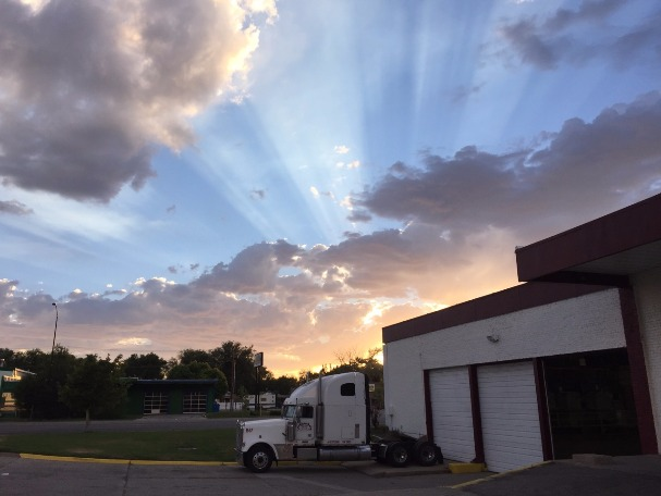 Beautiful sunset behind the Alpha Moving-N-Storage Warehouse in Ogden, Utah.